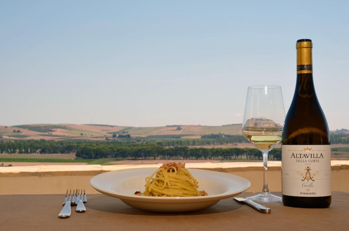 ©all copyright reserved by Firriato - CiboVino Altavilla grillo spaghetti con la bottarga  DSC0590 - Visite e degustazioni